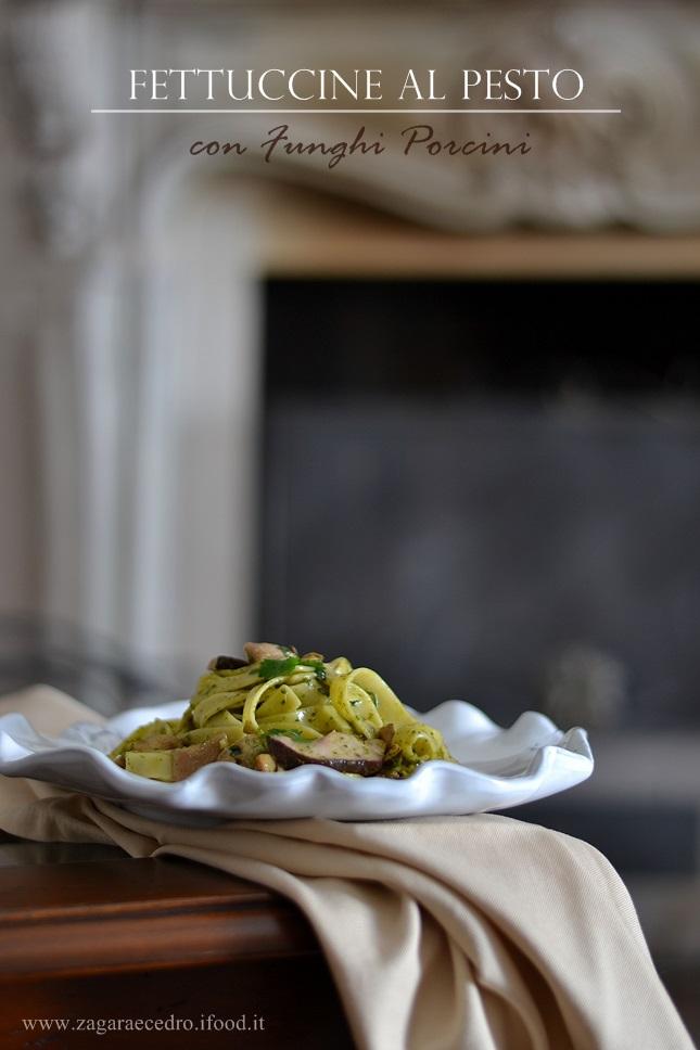 Fettuccine al pesto con Porcini dell'Etna