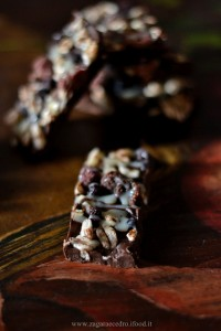 Barrette al cioccolato farro soffiato e frutti rossi