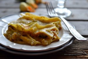 Lasagne con zucca e fiori di zucca