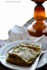 Lasagne con pistacchio e funghi
