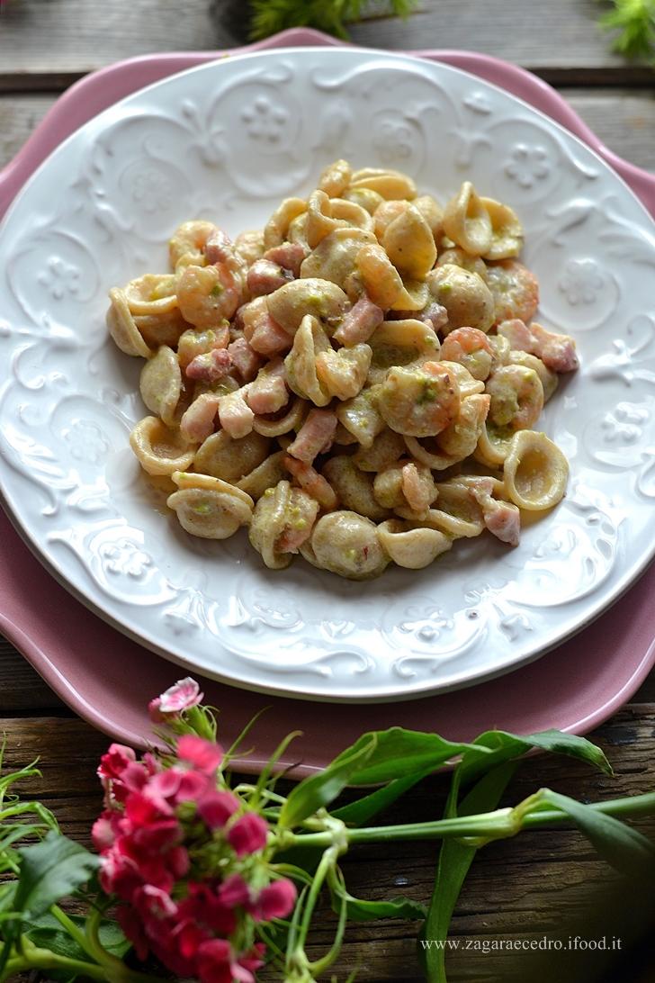 orecchiette pistacchio e gamberetti