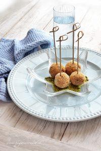 polpettine di alici su pistacchio