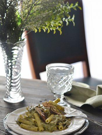 pasta con carciofi e pistacchio